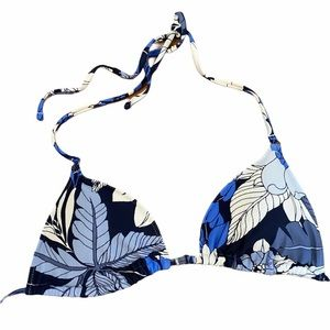 AERIE Blue & White Leaf Print Bikini Top